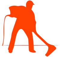a red cartoon man using a carpet cleaning wand
